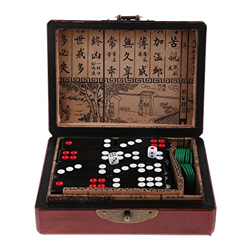 MagiDeal Chinese Pai Gow Paigow Tiles Game Casino for Party Entretainment Board Games