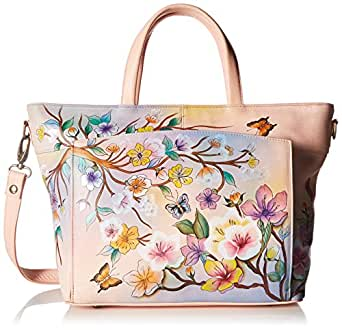 Anuschka Womens Genuine Leather Large Organizer Tote   Hand Painted Exterior   Japanese Garden