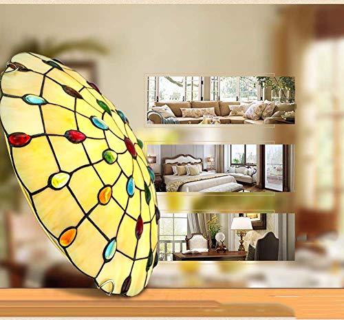 XNCH Tiffany Style Ceiling lamp Creative Round Glass Ceiling Light Bedroom Balcony Corridor Chandelier Lighting E27 300/400/500(mm)