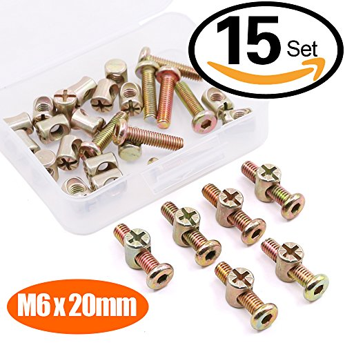 Hilitchi M6 x 20mm Zinc Plated Hex Drive Socket Cap Furniture Barrel Screws Bolt Nuts Assortment Kit for Furniture Cots Beds Crib and Chairs - Pack of 15 (20mm Barrel)