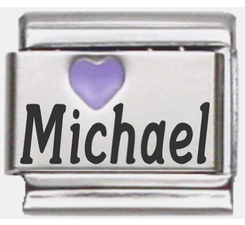 Michael Purple Heart Laser Name Italian Charm Link