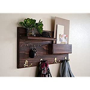 Coat Rack Mail Storage Key Hooks Entryway Organizer