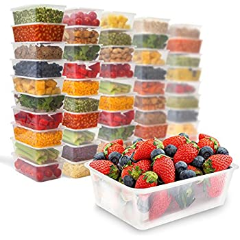 50 Food Containers with leakproof lids - 25 oz | Microwave & Freezer safe | Reusable - Disposable Plastic Meal Storage by Prep Naturals