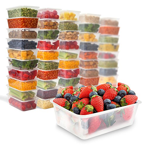 50 Food Containers with leakproof lids - 25 oz | Microwave