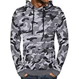 Mens Long Sleeve Blouses Hot Men's Autumn Camouflage Hooded Sweatshirt Outwear Tops Blouse By WEUIE (XL, Gray )