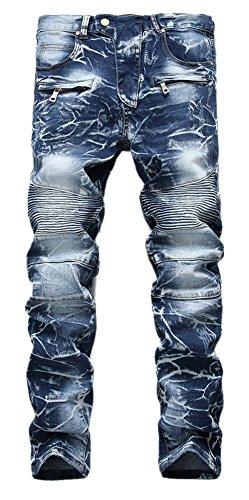 FEESON Mens Stylish Camo Straight Fit Stitching Moto Biker Blue Jeans