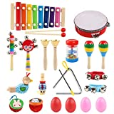 NEWSTYLE Musical Instruments, 24Pcs 13 Types Wooden Percussion Instrument Toys Tambourine Xylophone Drums Early Learning Musical Toys Set for Boys Girls with Carrying Bag