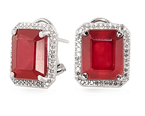 14.9 Carat 14K Solid White Rose Yellow Gold French Clip Earrings Halo Design Emerald Cut Ruby and Diamond 5128 (white-gold)