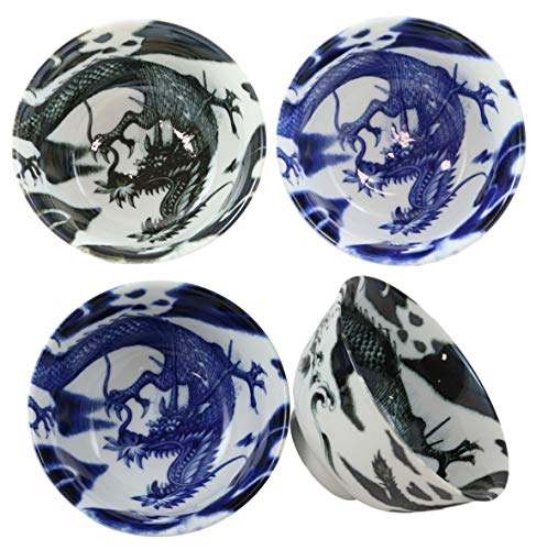 Ebros Gift Blue And Black Japanese And Chinese Longwei Dragons Ceramic Bowls Pack Of 4 Made In Japan Kitchen Dining Asian Cuisine Restaurant Supply Grade Microwave Dishwasher Safe 14oz Soup Salad Bowl