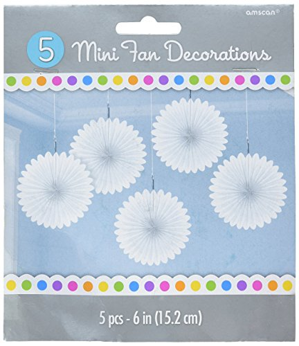 (amscan Mini Frosty White Paper Hanging Fans, 5 Ct. | Party)