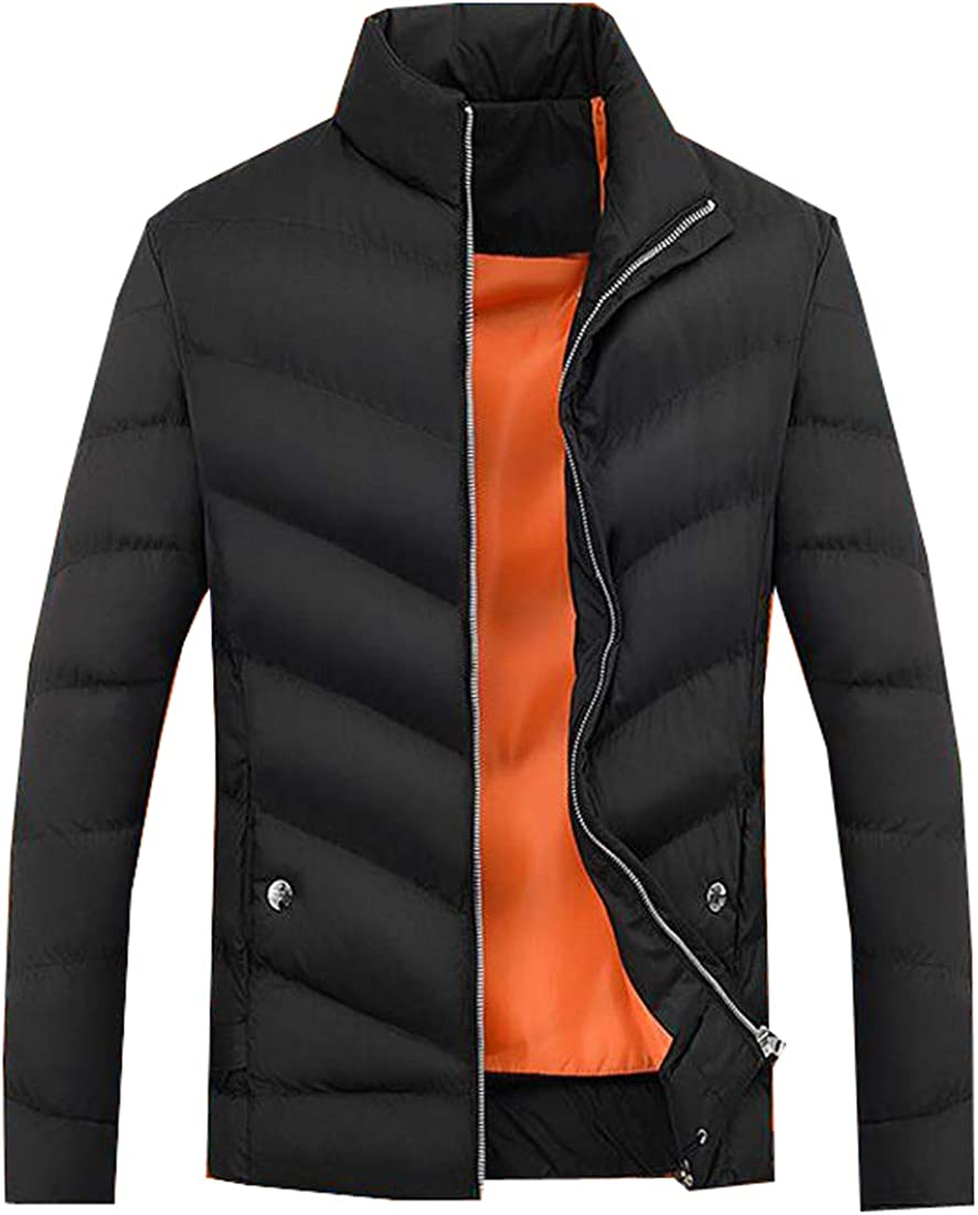 FSSE Mens Solid Winter Thicken Stand Collar Down Quilted Coat Jacket Outwear
