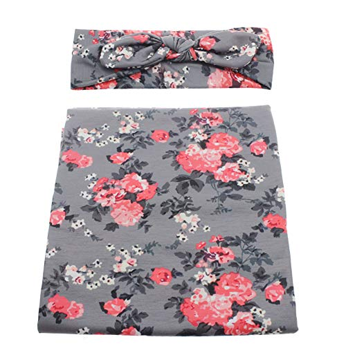 Infant Floral Swaddle Wrap with Headbands Hats Value Set Newborn Receiving Blanket for Baby Shower Gift Photography Props 35X35inch -
