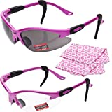 2 Pairs COUGAR - Advanced System PINK Safety Glasses - FREE Rubber Ear Locks and Microfiber Cleaning/Storage Pouches