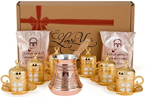 CopperBull Stimulus Turkish Greek Coffee Espresso Full Set with Copper Pot, Cups, Coffee for 6 (Gold)