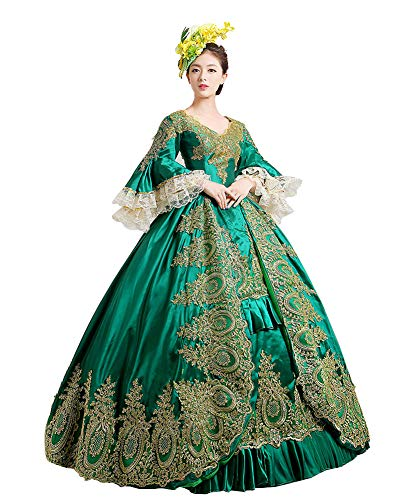 Zukzi Women's Prom Gothic Victorian Fancy Palace Masquerade Dresses, 2 Green, Size 12]()