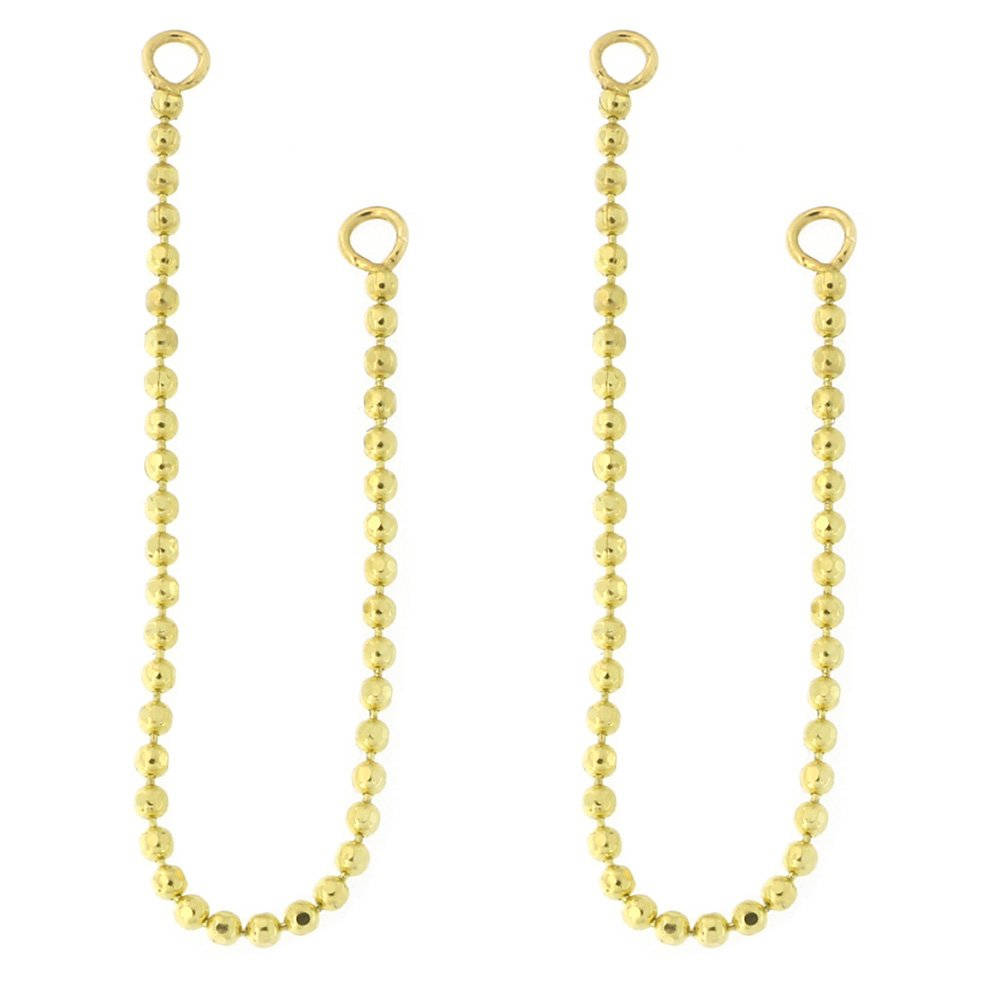 Automic Gold Solid 14k Yellow Gold Bead Chain Earring Jacket Connector
