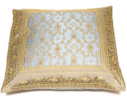 Embroidered Pillow Cover, hand stitched from original sari fabric and framed with an ornate embroidered border. Handmade in Rajasthan, India and Imported into the USA. Decorative. (20x20
