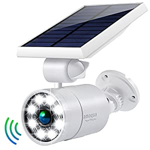 Solar Lights Outdoor Motion Sensor 1400Lumens 5-Watts(110W Equival.) Aluminum Auto On/Off and Dim to Bright Outdoor Flood Security Light Spotlight for Deck Yard Gutter Patio Garden Path Stair(White)