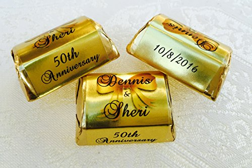 300 GOLD FOIL Personalized WEDDING ANNIVERSARY Themed CANDY