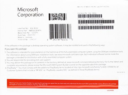 MS Windows 10 Pro 32bit DVD OEM (EN)
