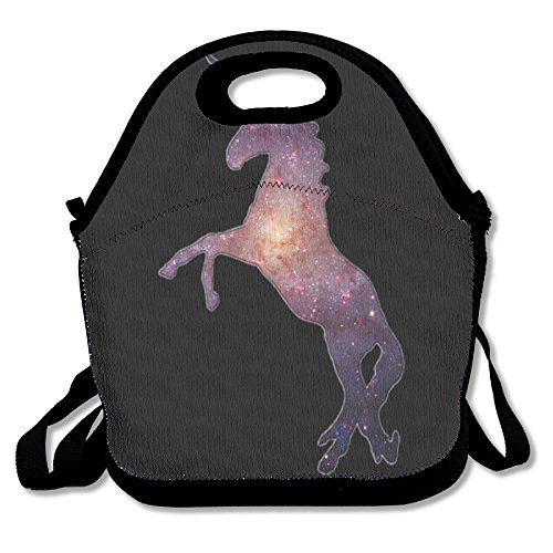 Unicorn Horse Fashionable Insulated Heating Polyester Backpack Women Men Kids Adult Black Lunch Bag Tote Lunch Box Tote Bag For Travel Office