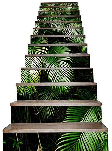 Jiaa Plam Deja Calcomanías de Escalera en 3D Adhesivos para Pelar Y Pegar Baldosas,100cm×18cm,13 Piezas
