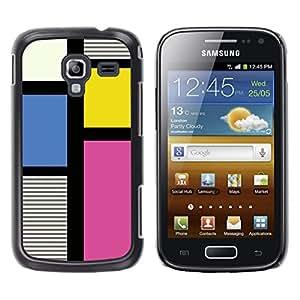 Be Good Phone Accessory // Dura Cáscara cubierta Protectora Caso Carcasa Funda de Protección para Samsung Galaxy Ace 2 I8160 Ace II X S7560M // Clean Pattern Fuchsia Yellow Lines