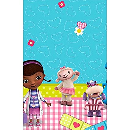 Doc Mcstuffins Rectangular Table Cover Birthday Party Tableware Decoration 1 Piece Blue Pink 54 X 96