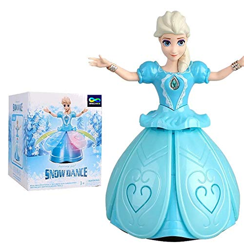 INCHOI Battery Operated Princess Dolls Toys for Girls; Snow Dance,Dancing Girl Doll; Flashing, Singing, Dancing and Rotating; Perfect Toddler Girl Toys!! (Age 3+)