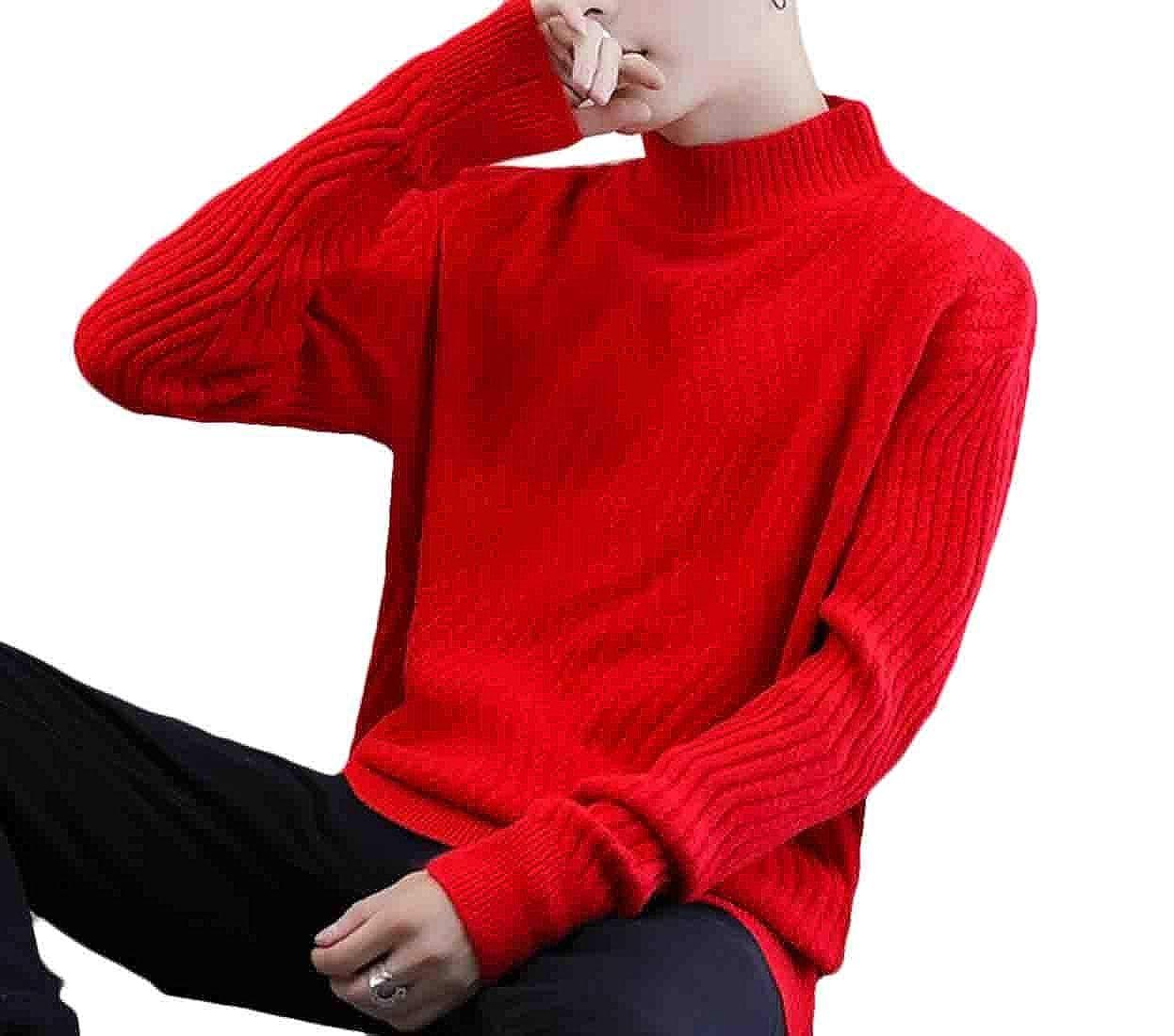 Qiangjinjiu Mens Turtle Neck Sweaters Loose Fit Jumper Long-Sleeve Pullover Tops
