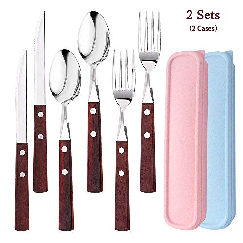 6Pcs Portable Utensils Set with 2Cases, AUHOKY Premium Stainless Steel Knife Fork Spoon with Wooden Handle, Reusable & Eco-Friendly Flatware Sets Cutlery Ideal for Travel Office Lunch Camping-Style B