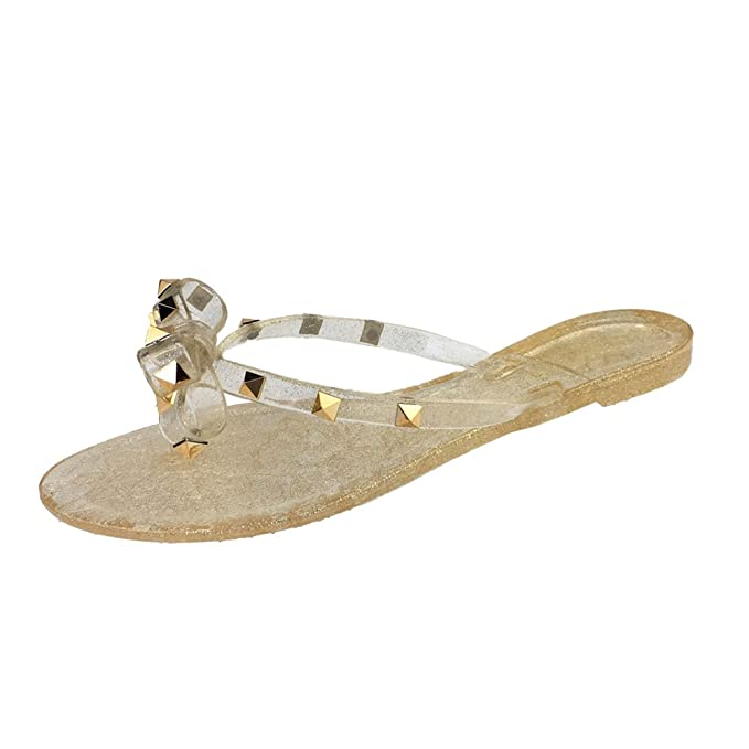 a2f438d24fbbac Mtzyoa Women Stud Bow Flip-Flops Sandals Clear Beach Flat Rivets Rain Jelly  Shoes