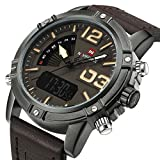 Tonnier Genuine Leather Coffee Band Analog Digital LED Dual Time Display Alloy Matte Case Mens Watch