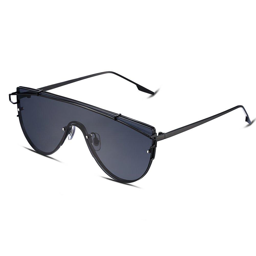 NYKKOLA - Gafas de sol (efecto espejo, montura de metal, polarizadas, 100% protección UV), diseño de...