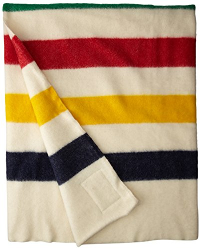 (Hudson Bay 8 Point Blanket Natural with Multi Stripes)