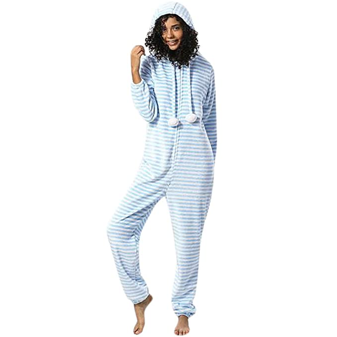 c10dce6a140c Amazon.com  TIMEMEANS Womens Jumpsuit Fashion Printing Hooded Flannel Long  Sleeve Tracksuit  Clothing