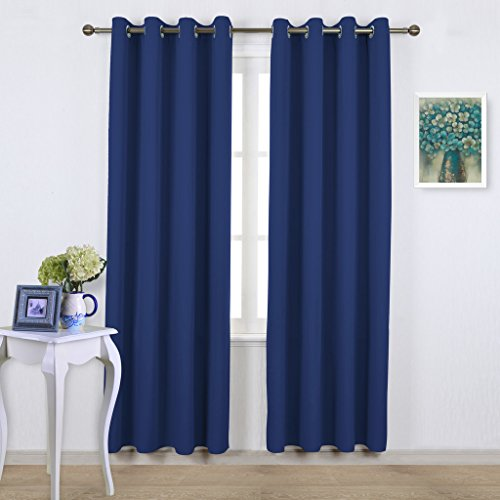 NICETOWN Blackout Curtains and Drapes for Kitchen - Extra Long Room Darkening Thermal Insulated Solid Window Blackout Draperies (1 Pair, 52 x 95-Inch, Navy Blue)