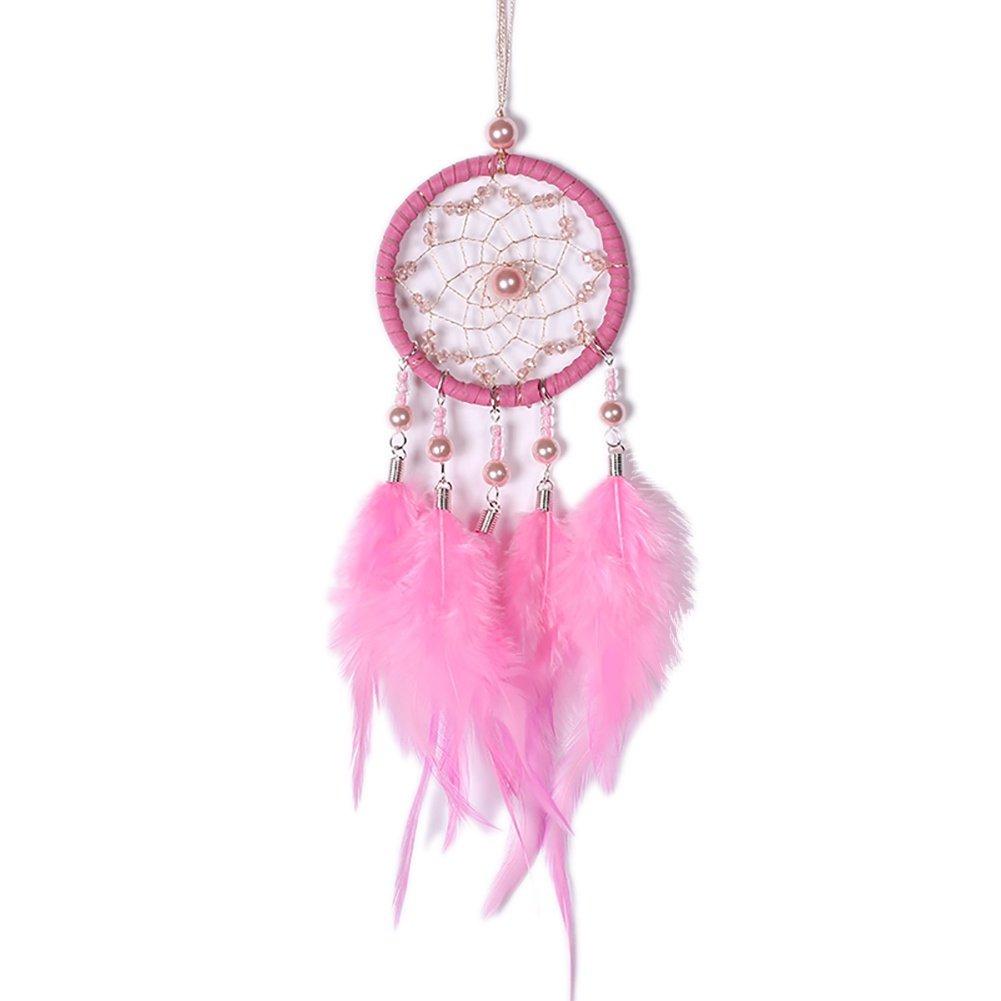 Gsha Car Dream Catcher Pink Grey White Hanging Dreamcatcher 7 Centimetre Diameter 34 Centimetres Long