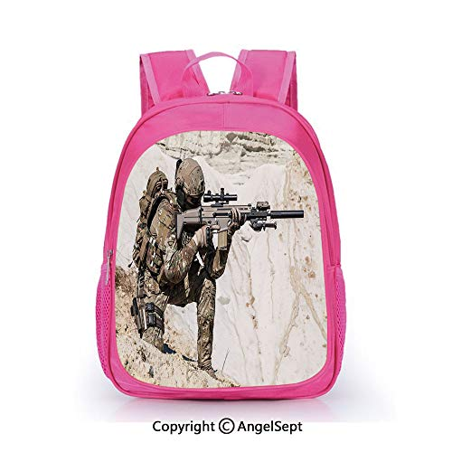 Hot Sale Backpack Casual Daypack,United States Ranger on the Mountain Targeting with Camouflage War Picture Beige Green,15.7inch,Travel Outdoor Backpack For Boys And Girls