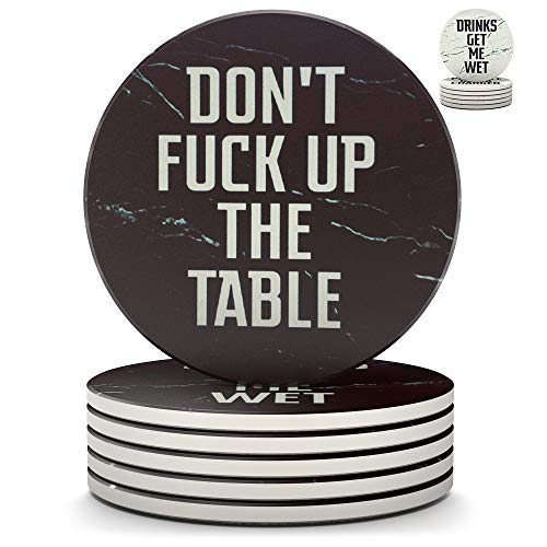 Clever & Funny Coasters for drinks Absorbent with holder - 6 piece Ceramic Black Marble coaster set - Drink coasters with holder - Cup coasters - Table coasters - Coasters funny - Man Cave decor
