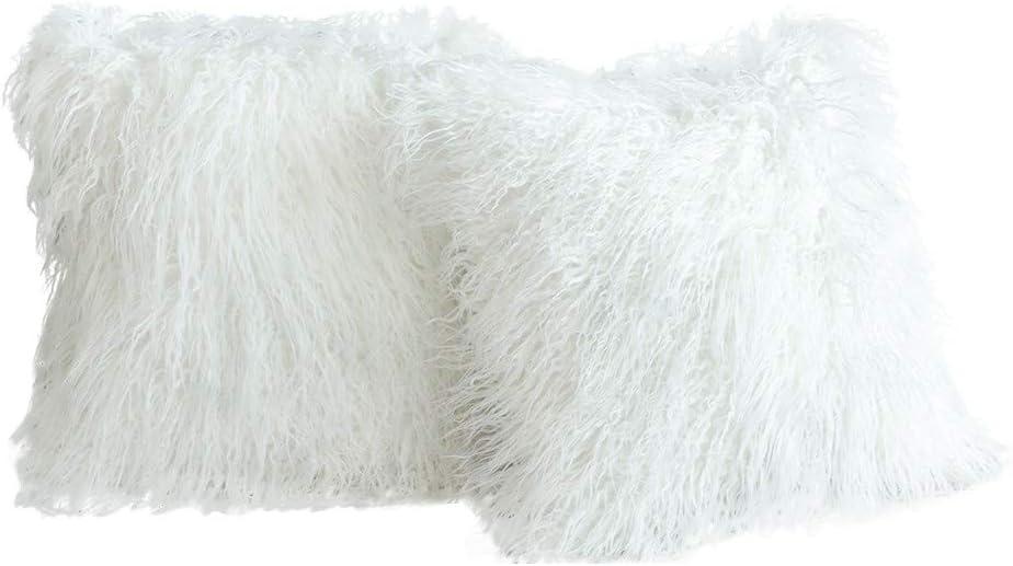 2 Pcs Housse de Coussin en Fausse Douce et Longue Poils Longs Peau de Mouton Fourrure Cuir Taie doreiller pour Salon Blanc canap/é Chambre /à Coucher