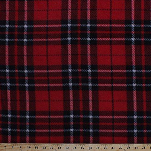 Fleece Classic Plaid Black Red White Fleece Fabric Print by the Yard (o17063b)