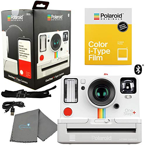 Polaroid OneStep+ White Bluetooth Connected i-Type Camera 9015 Bundle with a Color i-Type Film Pack 4668 (8 Instant Photos) and a Lumintrail Cleaning Cloth