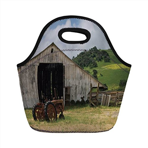 Neoprene Lunch Bag,Farm House Decor,Old Wooden Barn with Rusted Tractor on Hillside Enclosed with Wooden Fence and Trees,Green White,for Kids Adult Thermal Insulated Tote Bags