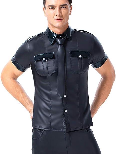 AFYH Camisa de Lentejuelas para Hombres, Camiseta de Charol para Hombres, Camiseta Negra para Casual/Entretenimiento/Baile/Fiesta,S: Amazon.es: Hogar