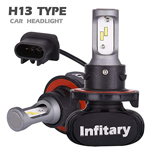 INFITARY H13 Led Headlight Bulbs 9008 Hi/Lo S1 CSP Chips Auto Headlamp All-in-One Conversion Kit Plug Play H4 H7 Hi/Lo 50W 8000LM 6500K Car Motorcycle Cool White Light 3 Years Warranty