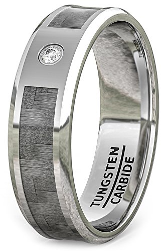 Duke Collections Mens Wedding Band Tungsten Ring Carbon Fiber Inlay Cubic Zircon Tungsten Carbide 8mm Comfort Fit (10)