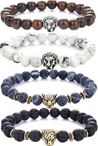 Pusheng Lava Rock Stone Bead Bracelets Set Beeded Lion Leopard Elastic Bracelet,8MM ()