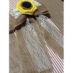 12' Wide Burlap Sunflower Lace Tulle Pew Chair Bow Rustic Wedding Reception Venue Decor Wreath Ornament 2
