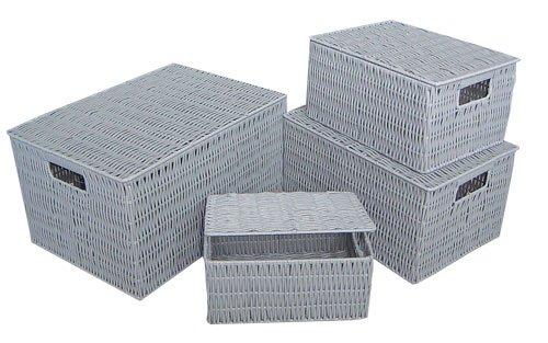 Korb mit Deckel, attraktive Flechtoptik, Farbe grau, Maße: ca. 34x24x18cm, 2er Set!!